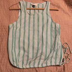 Green and white striped tank top